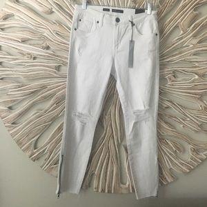 STS Blue Crop Distressed Jeans with Raw Hem Sz 28